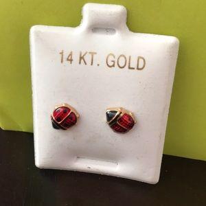 14KT Ladybug earrings